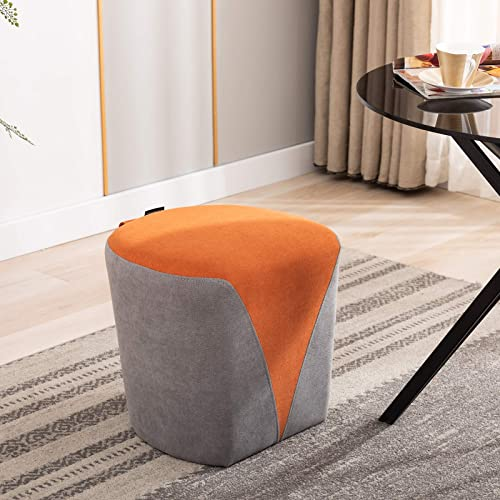 Artechworks Fabric Upholstered Heart Ottoman Stool Modern Small Footstool Foot Rest for Living Room Bedroom Home Office Business, Grey and Orange
