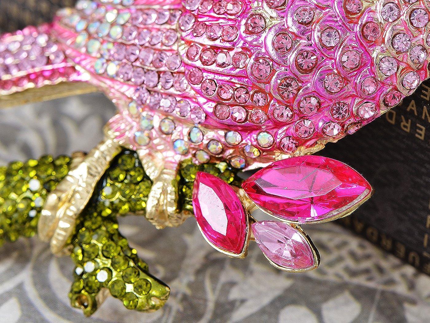ALILANG Damen Gold Rosa Strasssteine Tropischer Papagei Kakadu Vogel Brosche Pin