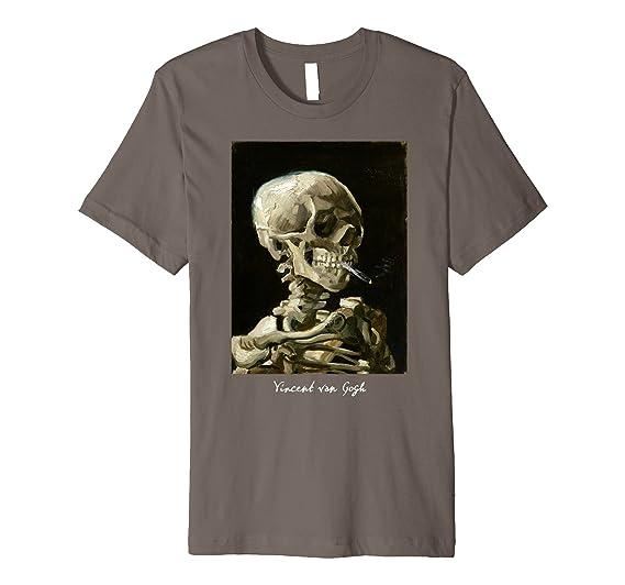 f14718ff Mens Van Gogh Skull of a Skeleton with Burning Cigarette T Shirt 3XL Asphalt