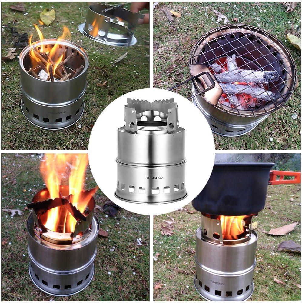 TOMSHOO R/échaud de Camping Pliable Petit Po/êle Portable en Acier Inoxydable pour Barbecue Randonn/ée Camping Pique-Nique