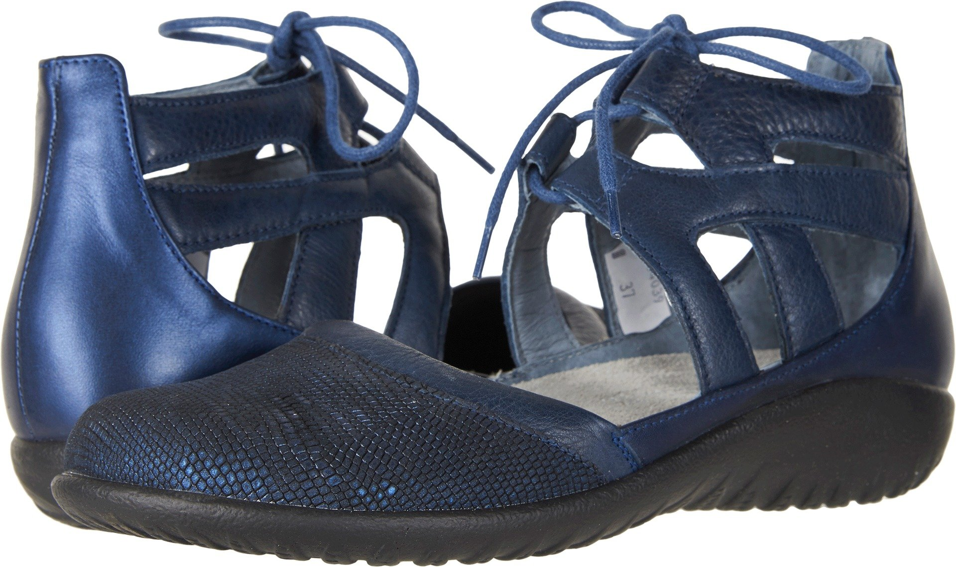 Naot Footwear Women's Kata Navy Reptile Leather/Ink Leather/Polar Sea Leather 40 M EU