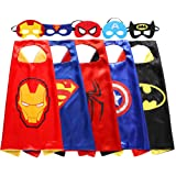 Zaleny Kids Superhero Dress Up Costumes 5 Satin Capes with 5 Felt Masks