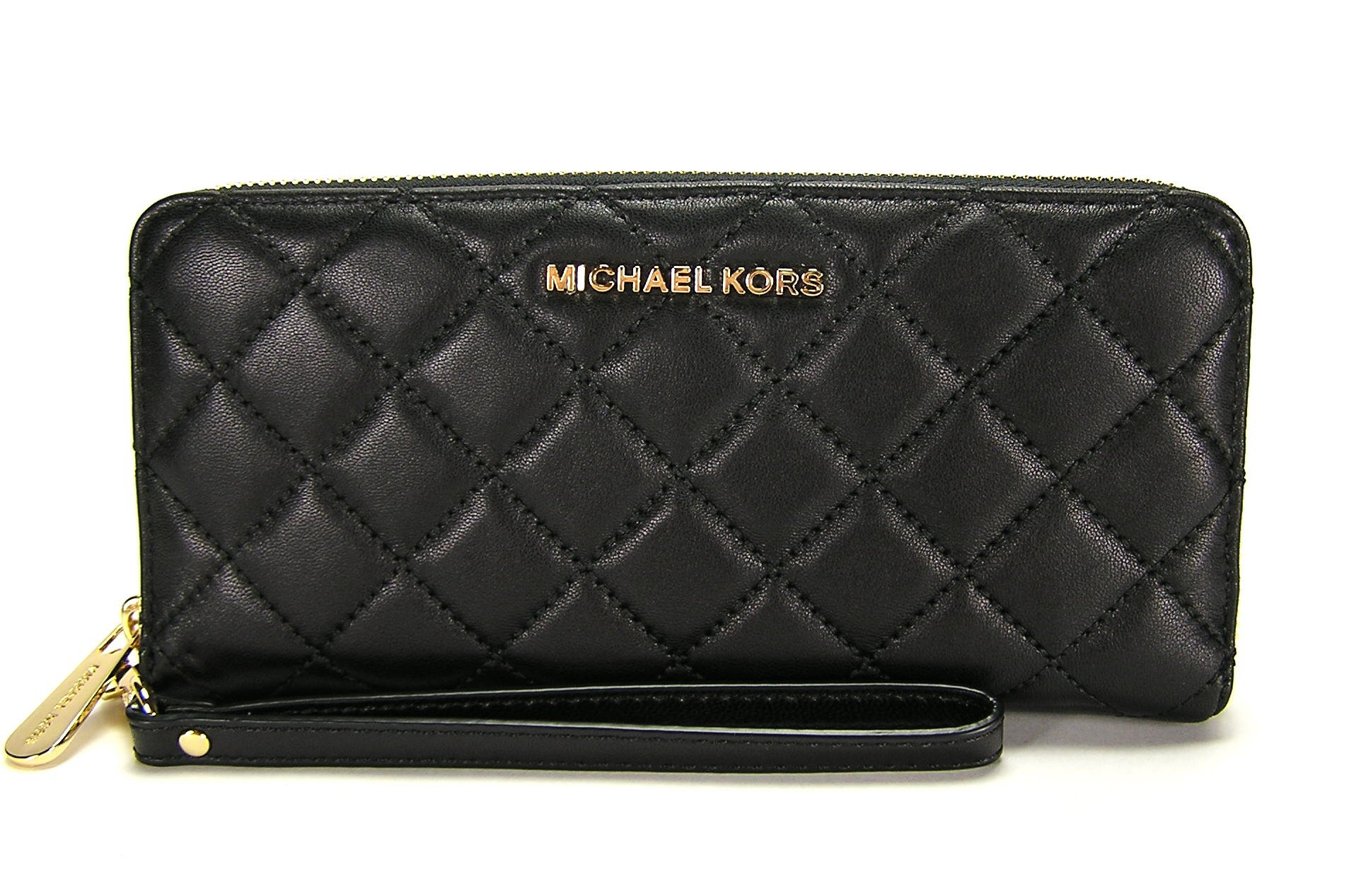 MICHAEL Michael Kors Jet Set Travel Leather Continental Wallet in Black