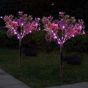 Doingart Solar Phalaenopsis Garden Lights Outdoor Decorative, Outdoor Solar Flower Lights for Patio, Garden, Yard, Lawn, Pathway (2pcs )