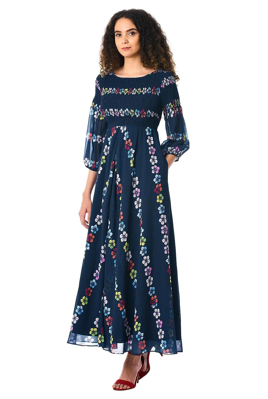09104a8b6899 eShakti Women's Floral chevron empire smocked georgette maxi dress:  Amazon.co.uk: Clothing