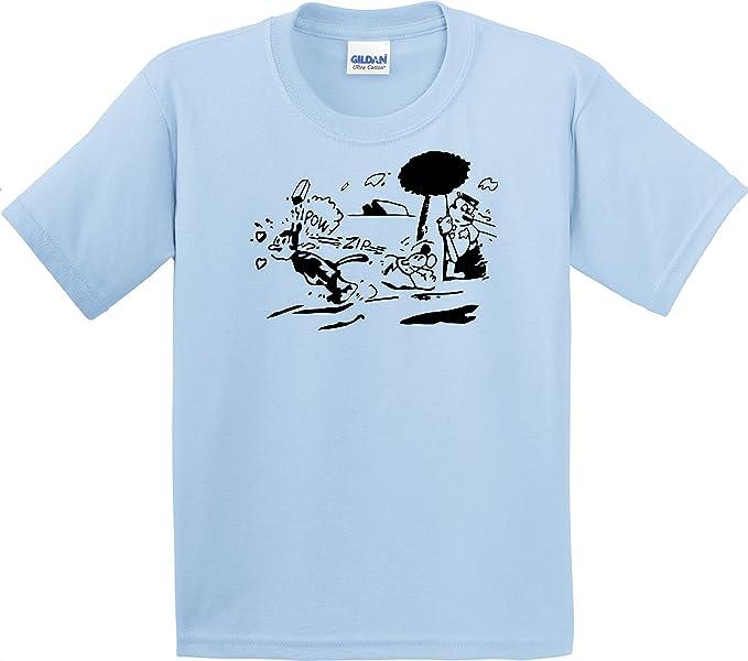 Krazy Kat Shirt Light Blue Gildan Mens Cotton preshrunk Soft Tee (Small)