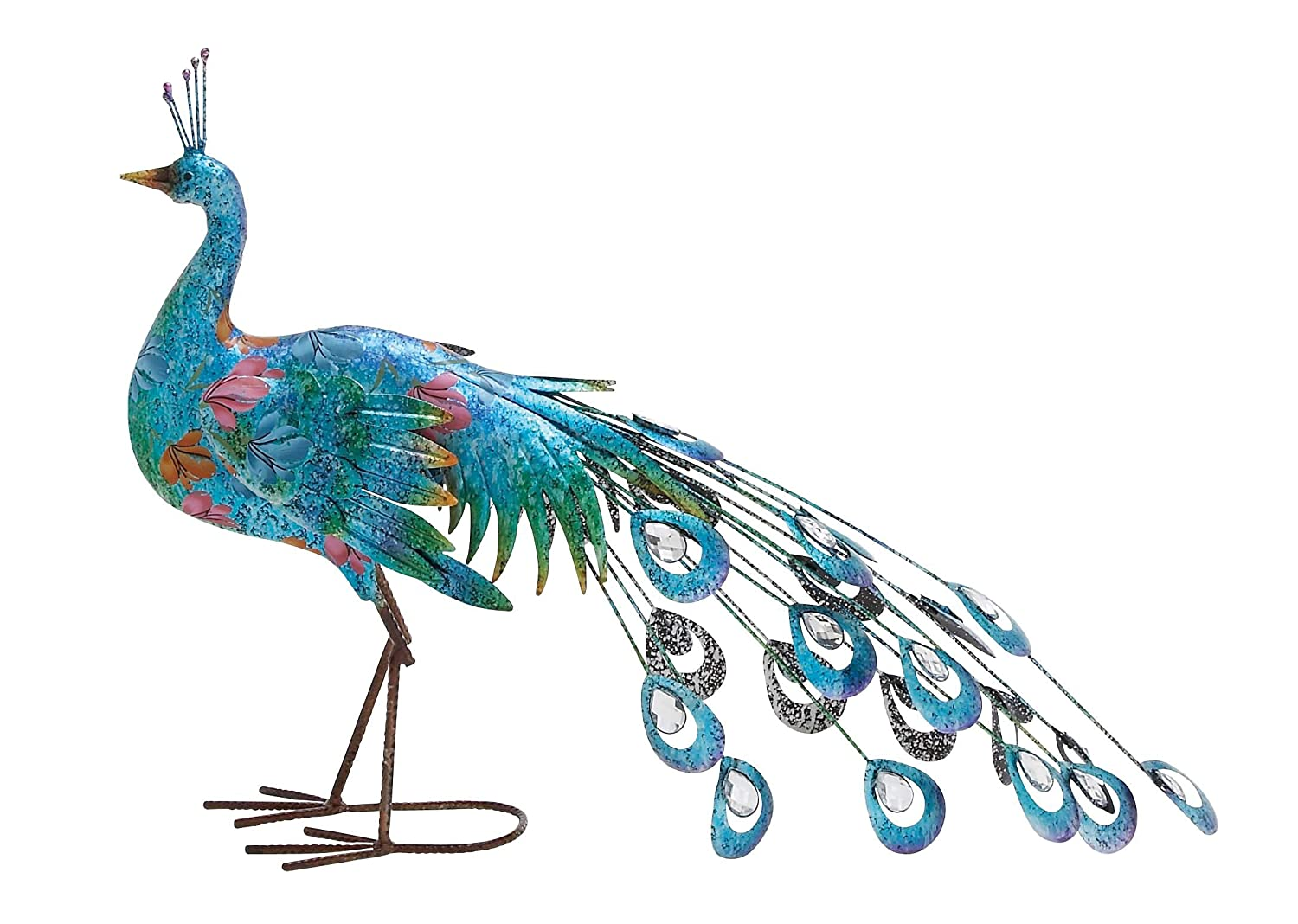 Deco 79 Metal Peacock Sculpture, 31-Inch by 20-Inch