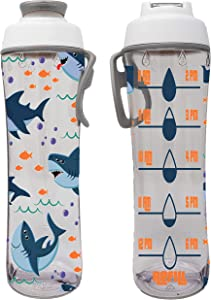 50 Strong Water Bottle for Kids with Time Markers - Motivational Bottles Remind Boys & Girls to Drink Water All Day - BPA Free, Leak Proof Plastic Bottle with Chug Cap & Carry Loop - USA Made