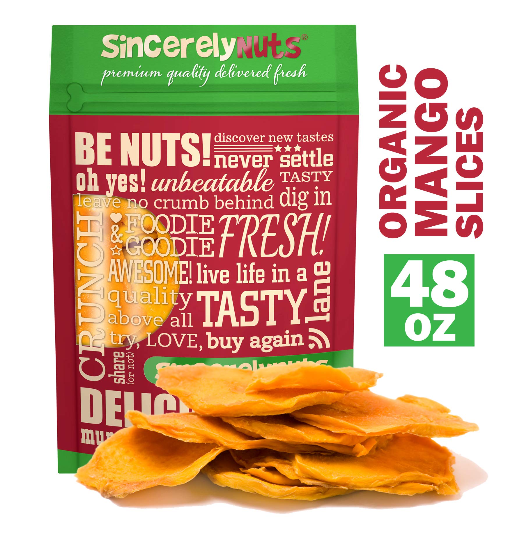 Sincerely Nuts Dried Organic Mango Slices (3 LB)- Gluten-Free Food, Vegan, and Kosher Snack-Nutritious and Satisfying Tropical Fruit-High in Vital Nutrients-Healthy Alternative for Sweet Tooth by Sincerely Nuts