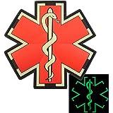 Glow Dark EMS EMT Medic Paramédical Paramedic Star of Life Morale Tactical PVC 3D Attache-boucle Écusson Patch