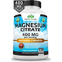 Magnesium Citrate 400 mg - 120 tablets Elemental Magnesium Supports Function of muscles, bones,