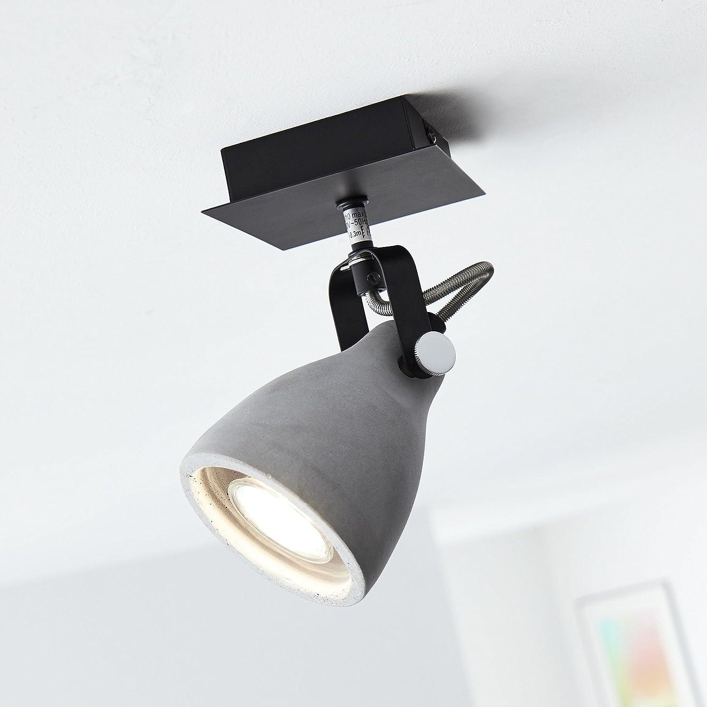 Wandspot, 1x GU10 max. 20W, Metall/Zement, schwarz matt/zement grau [Energieklasse A++] Lightbox