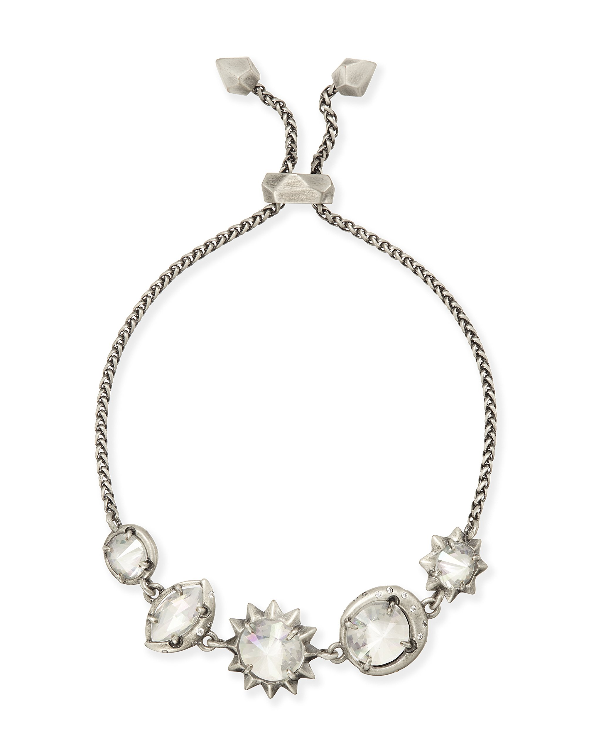Kendra Scott Jodie Bracelet in Rhodium Plated Iridescent Clear Glass and Cubic Zirconia