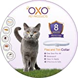 OXO Pet Products New Natural Cat Flea and Tick Collar. Adjustable, Waterproof Cats Flea Collar/Cats Tick Collar, Flea And Tick Prevention For Cats, Lasts Up To 8 Months, One Size Fits All. Grey Color