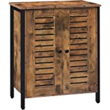 HOOBRO Floor Standing Cabinet, Storage Cabinet with 2 Adjustable Shelves, Accent Cupboard, Sideboard with Louver Doors, for L