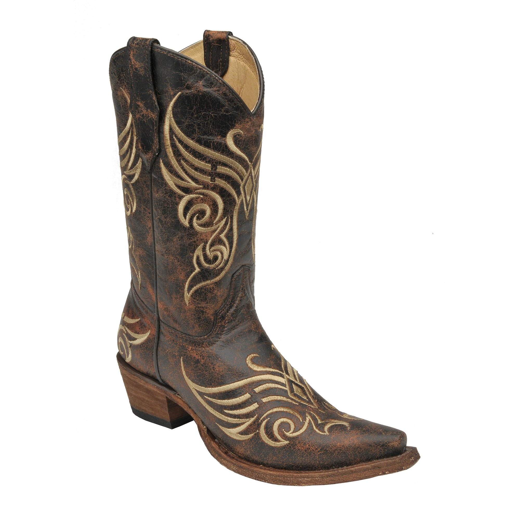 Corral Women's L5002 Butterfly Embroidery Short Top Brown Western Boots 11 M