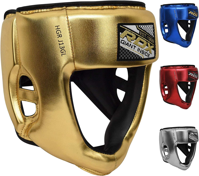 Junior Metallic Cuoio Casco per Kickboxing Muay Thai Krav Maga Karat/è Protezione RDX Bambini Caschetto Boxe per Sparring Kids Copricapo per Arti Marziali MMA Allenamento Pugilato