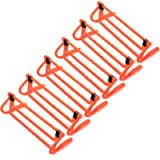 6-Pack of Agility Hurdles with Adjustable Height Extenders – Neon Orange Set & Carry Bag – Plyometric Fitness & Speed…
