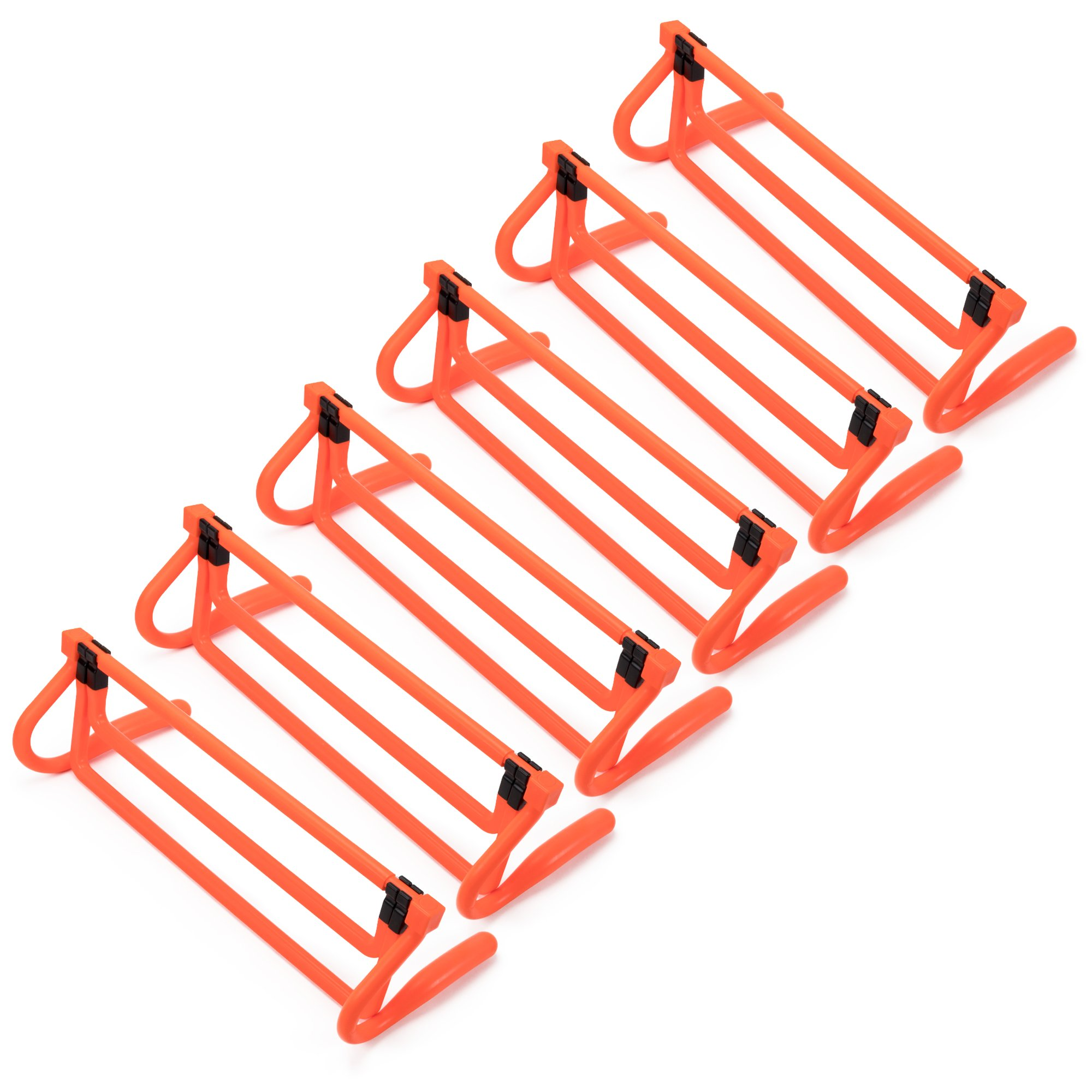 6-Pack of Agility Hurdles – Neon Orange with Adjustable Height Extenders & Carry Bag, Multisport Plyometric Fitness & Speed Training Equipment by Crown Sporting Goods
