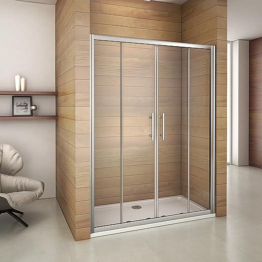 1400 mm cromo ducha almacenaje doble puerta corredera cristal endurecido con 1400 x 800 mm bandeja: Amazon.es: Hogar