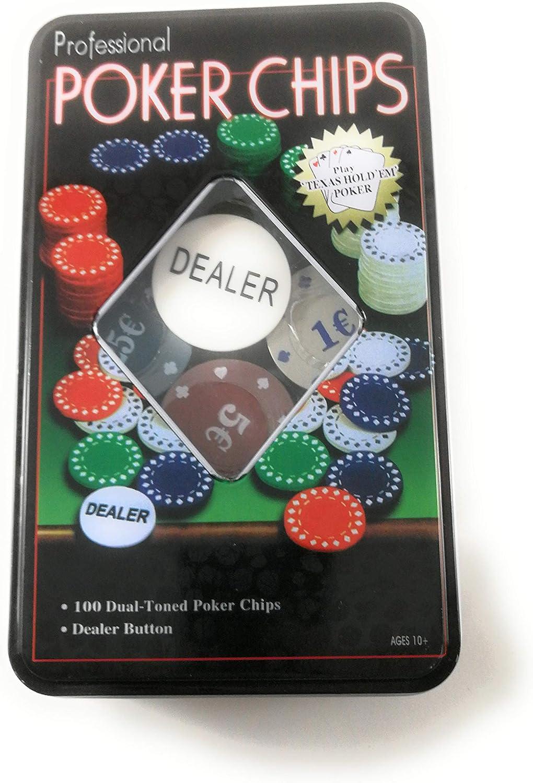 profesional Set 100 fichas de Poker con Estuche Metalica: Amazon.es: Juguetes y juegos