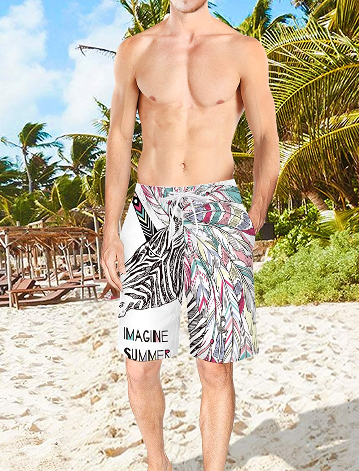 Mens Lightweight Slim Fit Quick Dry Beach Shorts Cute Unicorn Painted Picture Surf Beach Pants with Mesh Lining