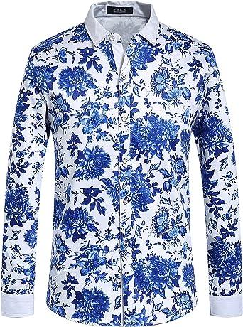 SSLR Camisa Estampado Cachemir Floral Manga Larga de Algodón de Hombre: Amazon.es: Ropa y accesorios