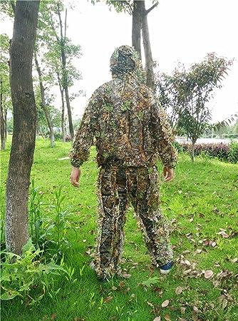 Camuflaje Ghillie trajes ropa chaqueta pantalones de caza 3d hoja de arce pantalones: Amazon.es: Deportes y aire libre