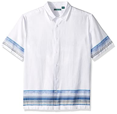 51e41005f55 Cubavera Men s Short Sleeve Linen-Blend Conversational Print Button-Down  Shirt