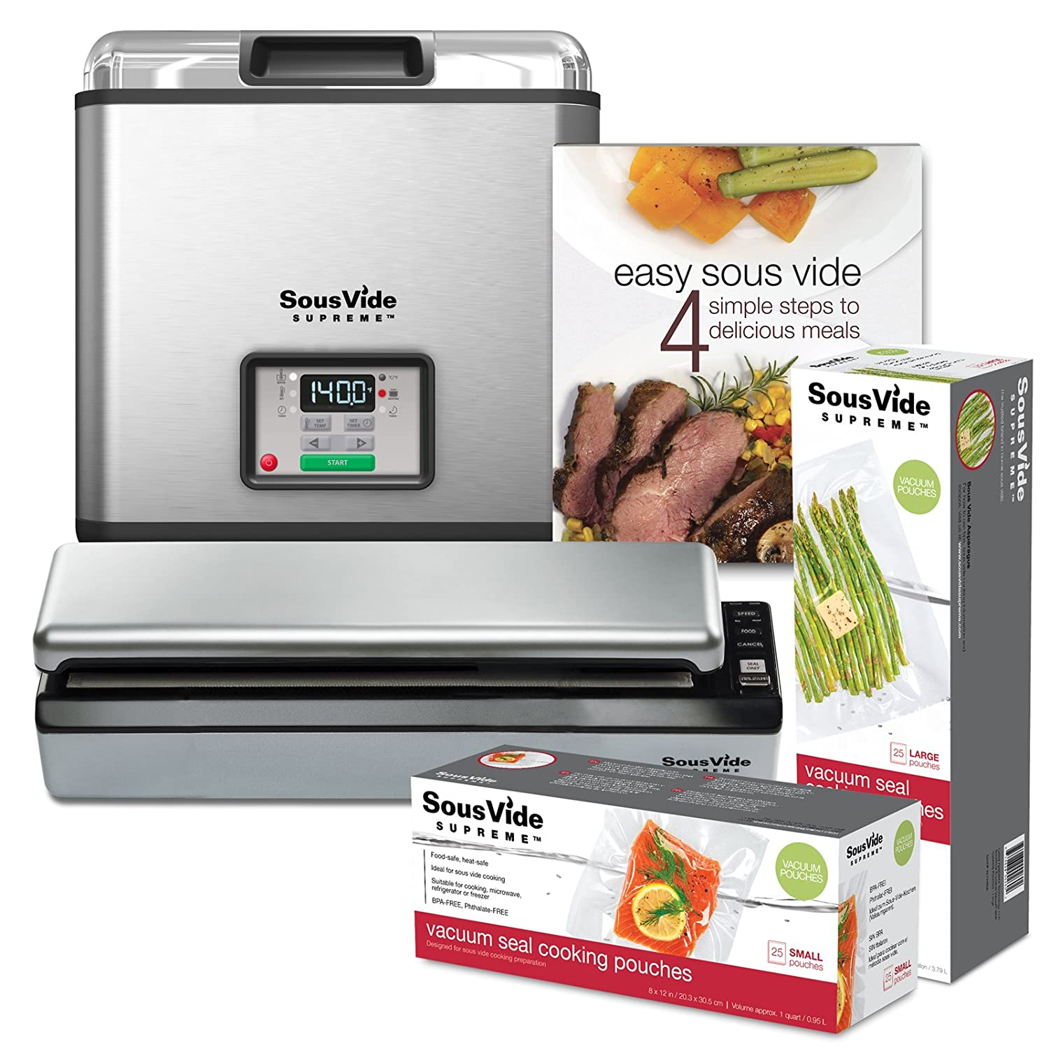 SousVide Supreme Water Oven 11-Liter System Complete with Vacuum Sealer, Cookbook and over 50 Sealer Bags