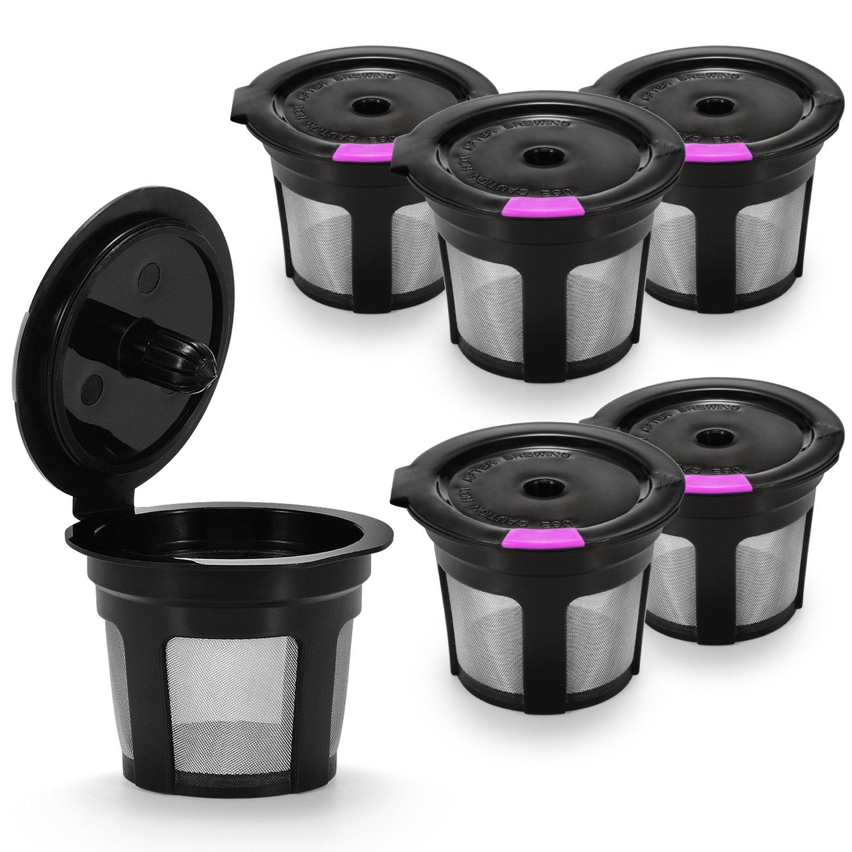 STYDDI Reusable Mesh Coffee Filter for Keurig, 6-Pack Refillable Empty Coffee Capsule Universal Filter Replacements for K15, K55, K145, K250, K300/K350, K400/K450/K460, K500/K550/K575 Models