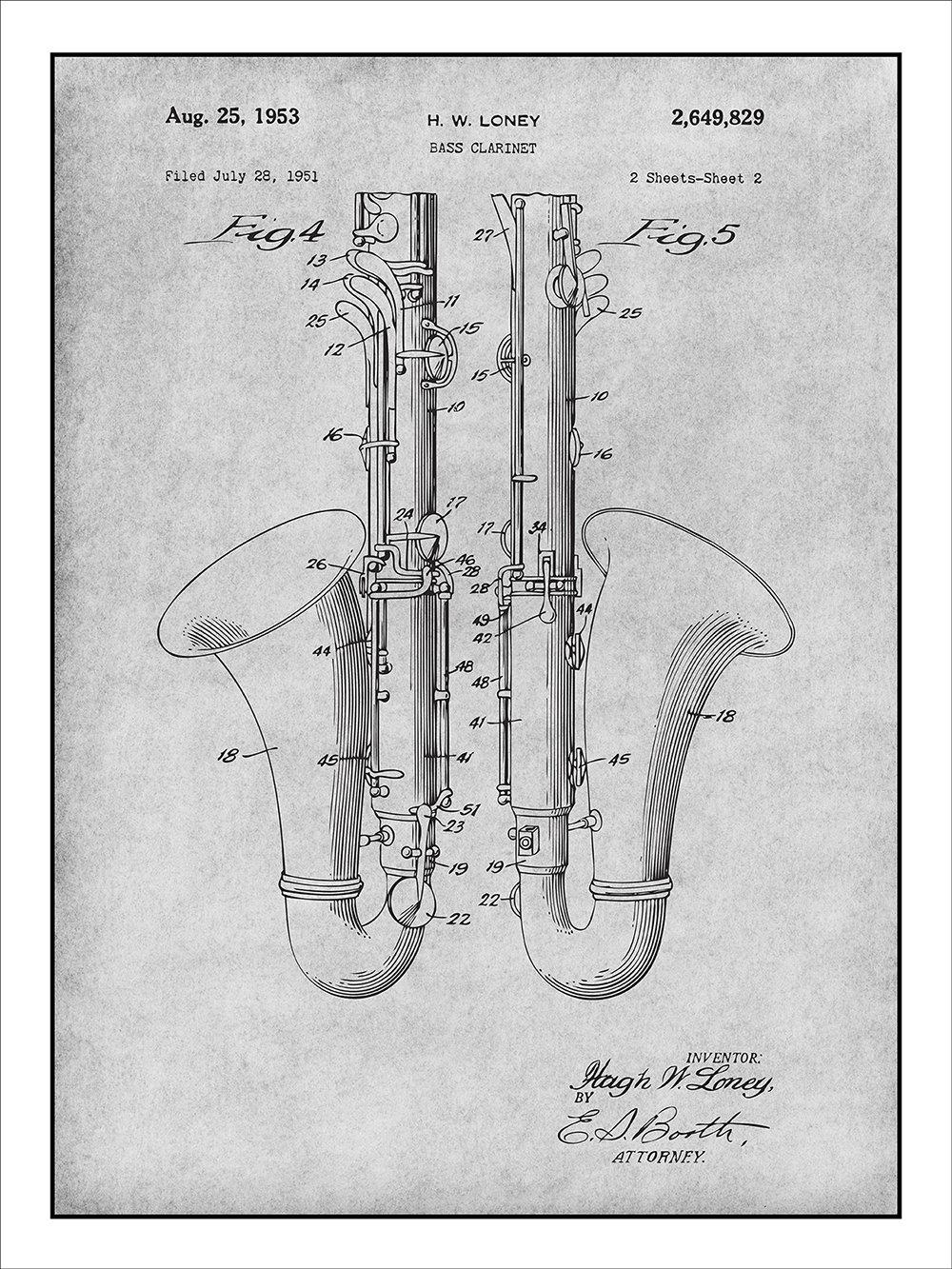 819Zuk2jOSL._SL1333_ amazon com 1951 loney bass clarinet patent print art poster
