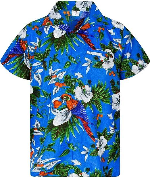 Hawaiian Shirt for Men Funky Casual Button Down Very Loud Shortsleeve Unisex Cherry Parrot