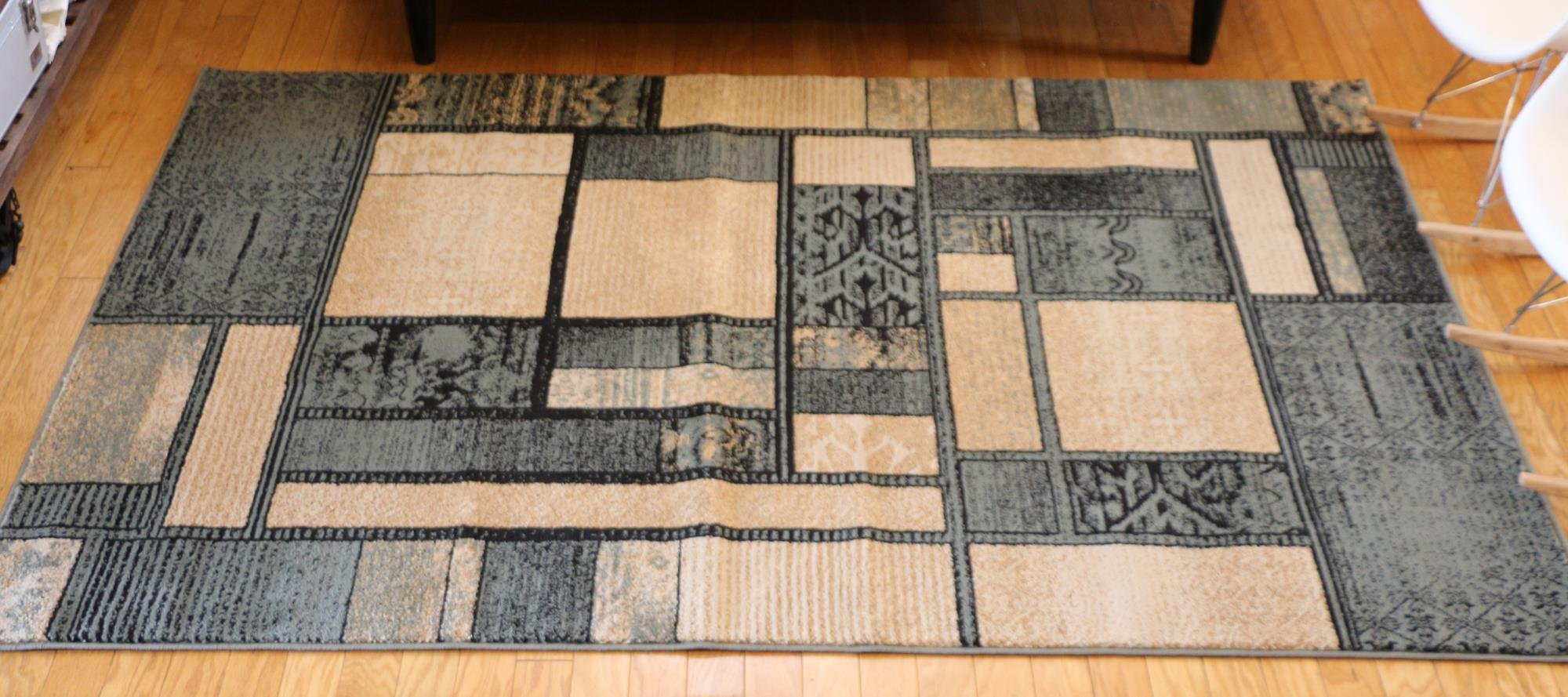 Feraghan/New City Contemporary Modern Square Boxes Area Rug, 2' x 3', Blue and Beige