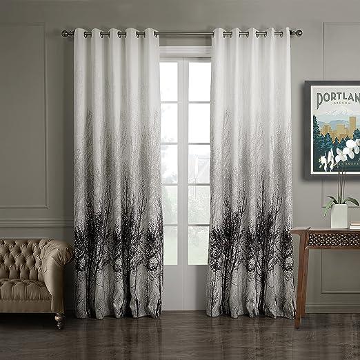 gwell elegante algodón hojas de impresión – Cortina opaca con ojales Top calidad cortina para salón dormitorio gris Cream 245 x 140 cm de 1er Pack, tela, gris, 213x145 (HxB), Stück x1: