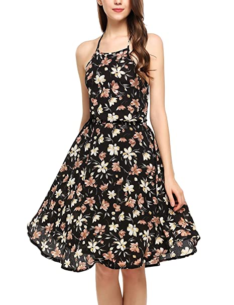 b67195399b5 Nessere Floral Maxi Dress Hanging Neck Dresses Casual Halter Boho ...