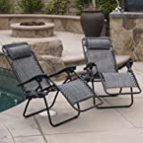 Belleze Premium Patio Chairs Zero Gravity Folding Recliner and Drink Tray, Set of 2, Gray
