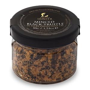 TruffleHunter Minced Black Truffle (1.74 Oz) Preserved in Extra Virgin Olive Oil Garnish Seasoning Gourmet Food - Vegan, Kosher, Vegetarian and Gluten Free - No MSG, Non-GMO