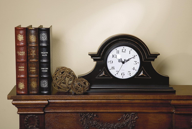 amazon com imax black mantel clock home u0026 kitchen