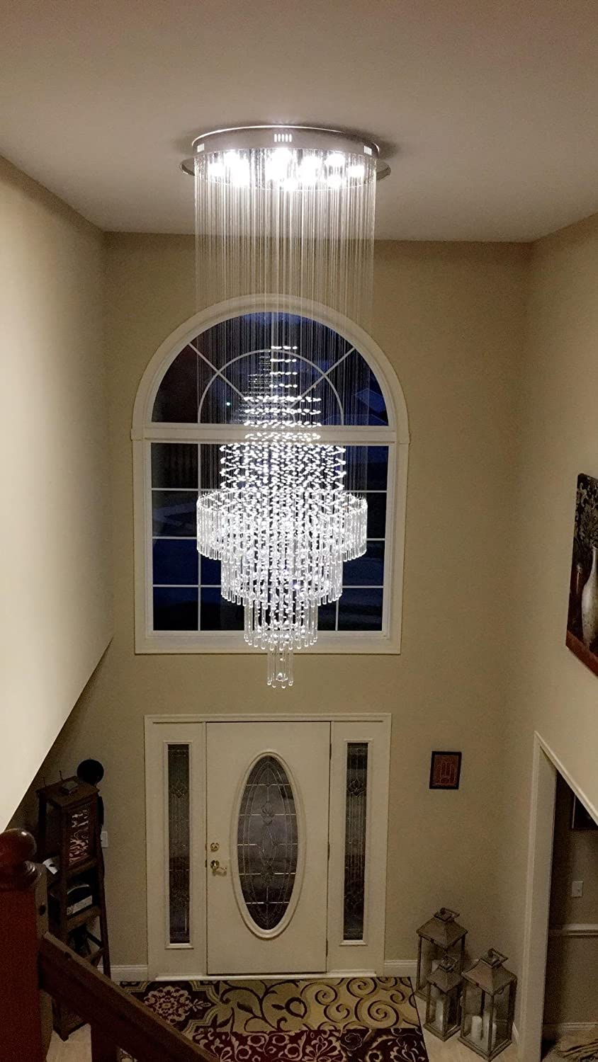 Moooni Large Modern Luxury Crystal Chandelier Lighting for Living Room Porch Hallway D 31.5 x 79 H
