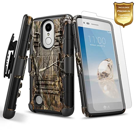 differently b637d 5e59b NageBee LG K20 Plus Case, LG K20 V Case, LG K20V Case with [Tempered Glass  Screen Protector] [Heavy Duty] Armor Shock Proof Dual Layer [Swivel Belt ...