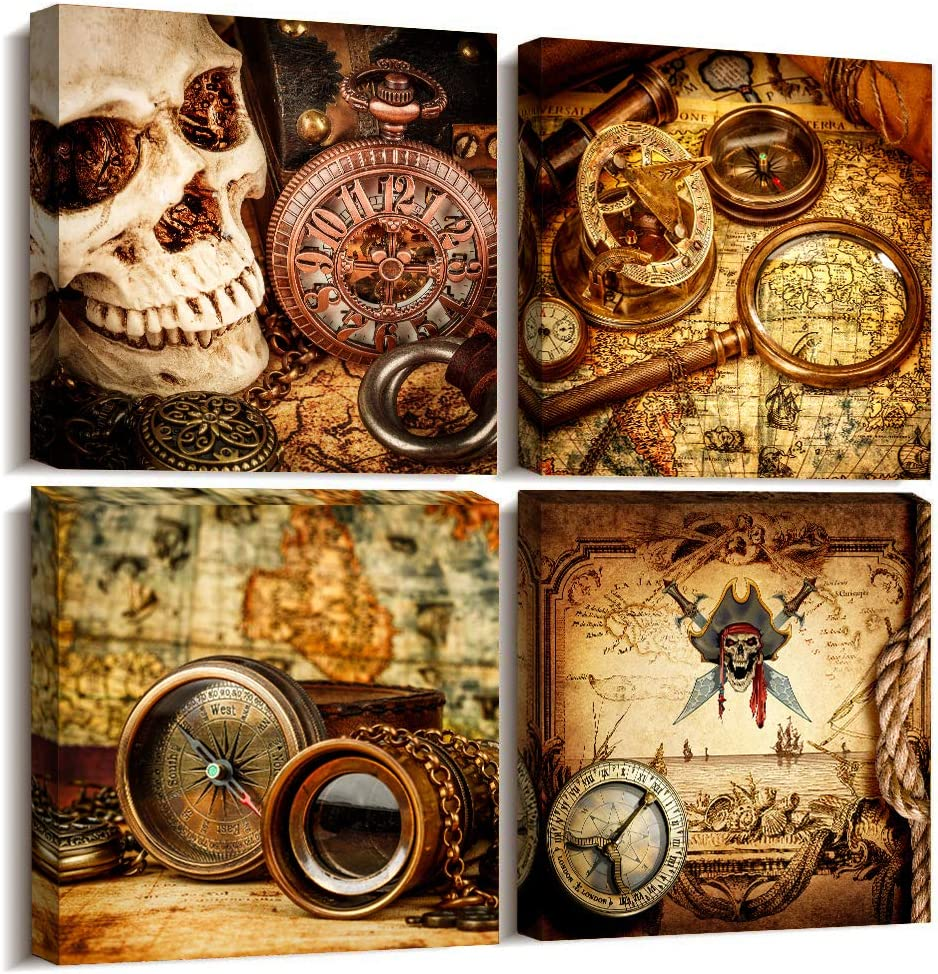 Pirate ship compass Restoring ancient ways Wall Art for living room Canvas Prints Artwork bathroom Wall Decor Watercolor painting 4 Piece Framed bedroom wall decorations Office Home Decoration