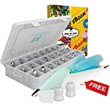 Cake Decoration Tips-37 Piece-The ONLY KIT With BONUS Reusable Silicone Bag-X2 Coupler-X10 Disposable Icing Bag-EBook. EASY TO SET & USE-Baking Tool Supply. Professional Icing Tips-Piping Cake Nozzle.