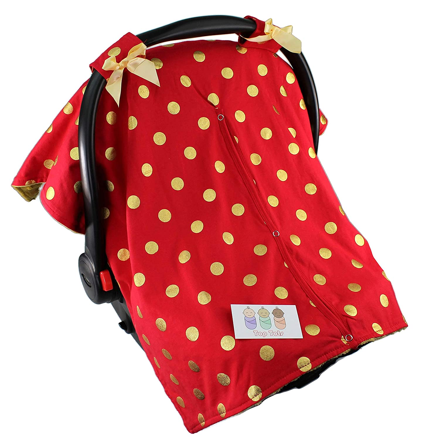 Top Tots Standard Baby Car Seat Canopy Cover, Polka Dots, Minky Dot,Red Gold, Includes 1 Year Warranty