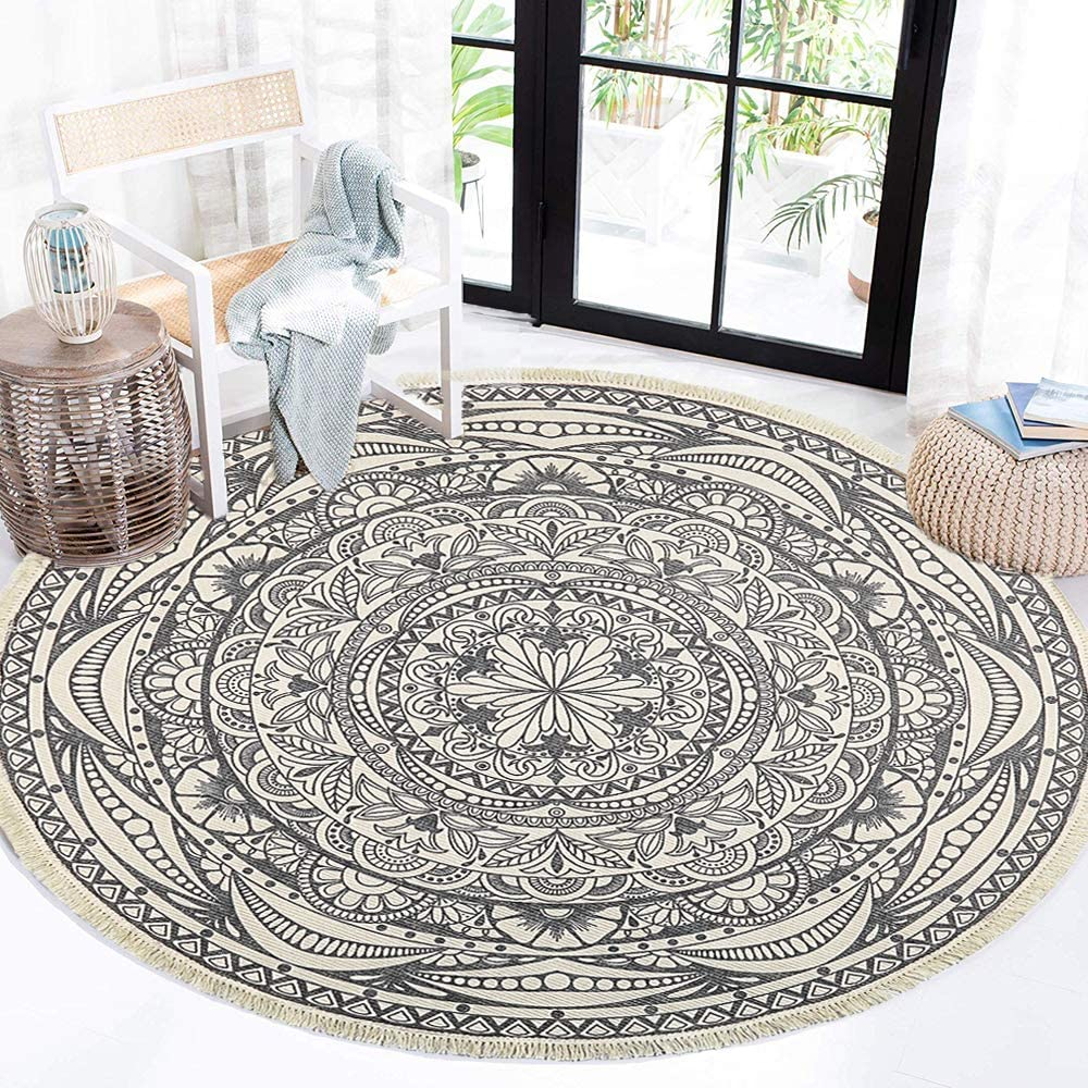 Amazon Com Hebe Bohe Cotton Round Area Rugs 4 Ft Machine Washable Chic Bohemian Mandala Printed Cotton Round Rug With Tassels Woven Throw Rug Carpet For Bedroom Living Room Kitchen Dining