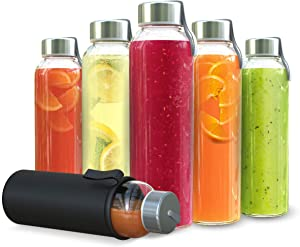 Chef's Star Glass Water Bottles - 6 Pack of Glass Bottles with Caps - 18 oz Juice Bottles- Protection Sleeve Included - Featuring Stainless Steel Leak-Proof Lids with Carrying Strap