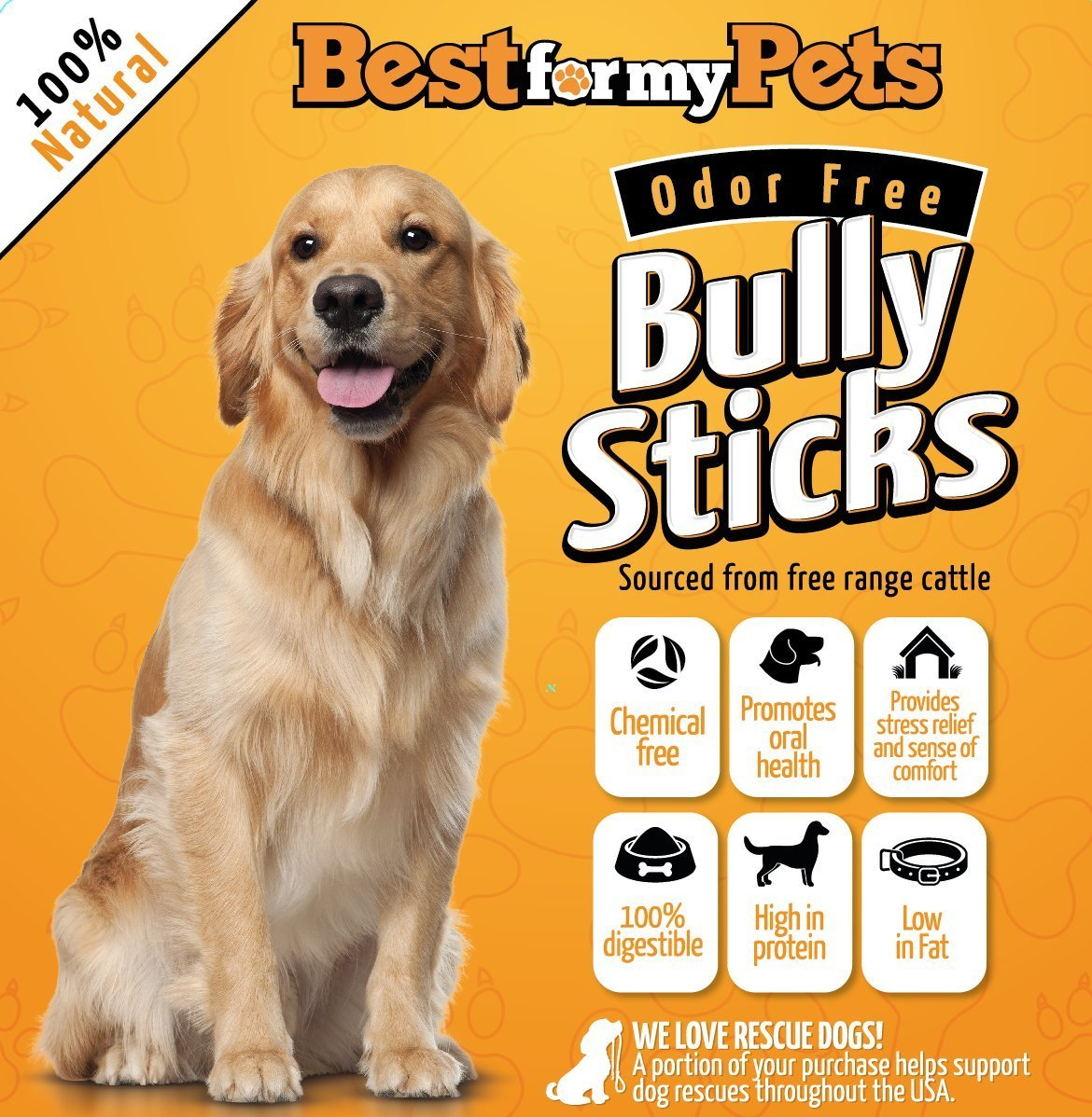 12-Inch Bully Sticks Odor-Free All Natural Dog Treats Fresh Long Lasting Chews by Best For My Pets, 8-Ounce Bag