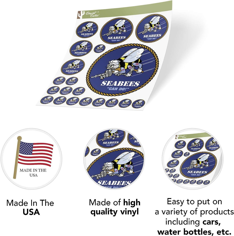 US Navy Emblem Logo Sticker Vinyl Decal Laptop Water Bottle Car Scrapbook Officially Licensed United States Sheet - Seabees