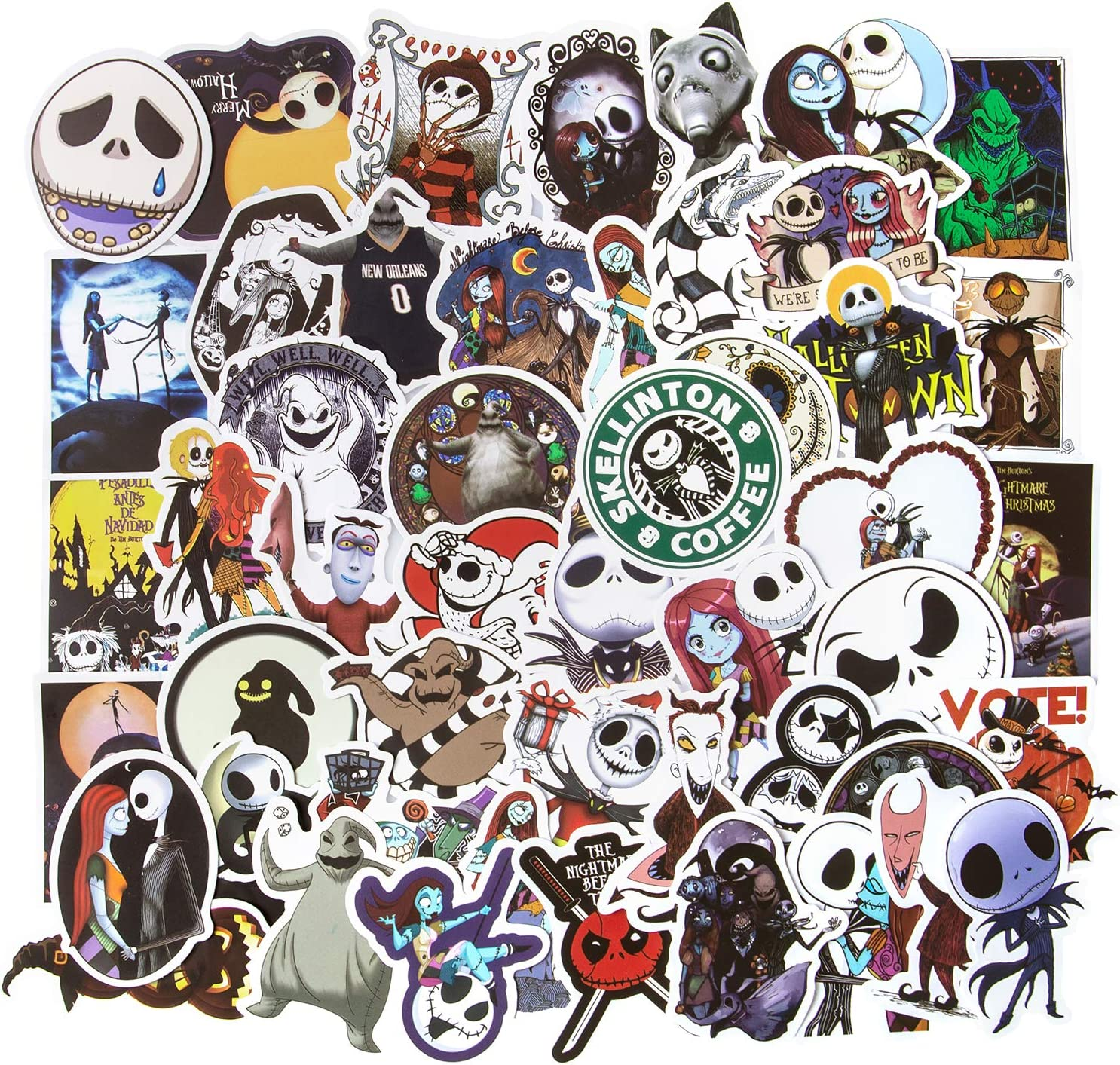 Halloween Stickers, 50pcs The Nightmare Before Christmas Stickers, Laptop Stickers Skateboard Stickers for Teens Vinyl Waterproof Stickers for Water Bottles Luggage Bike Computer Stickers Decal