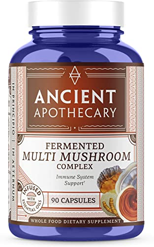 Ancient Apothecary Fermented Multi Mushroom Supplement, 90 Capsules – 7 Organic Mushrooms, Essential Oils, Ashwagandha Extract and Digestive Bitters